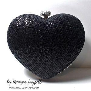 Handbags - Heart Shape Evening Clutch Black